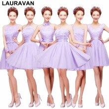 d50a745290 Lawenda światła purpurowy moda sukienka siostra panny młodej krótki  dziewczyny nowoczesne pokojówki 6 styl druhny suknie