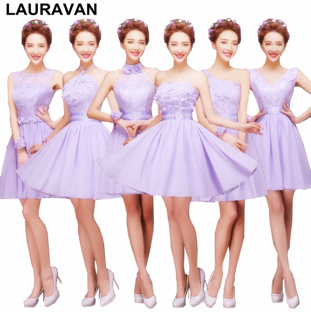 887b602232 lavender light purple fashion dress sister of the bride short girls modern  maids 6 style bridesmaids dresses for wedding party