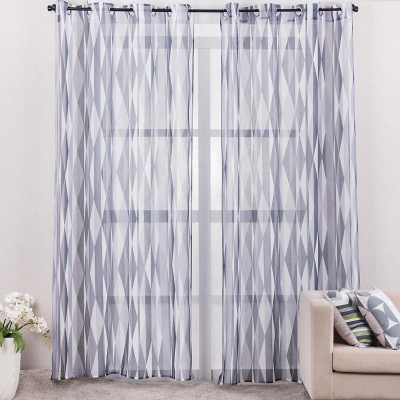 stampato grigio geometrica tende per soggiorno moderno stile lino ... - Tende X Soggiorno Moderne