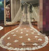 White Ivory Cathedral Long Lace Veil Edge one Layer Applique Tulle Bridal Wedding Veils
