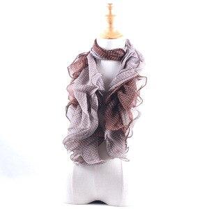 Image 3 - Promotion Sale! Summer Fungus Edges Scarves Fashion Dot Print Ruffle Shawl Women Elastic Band Head Scarf Muslim Chiffon Hijab