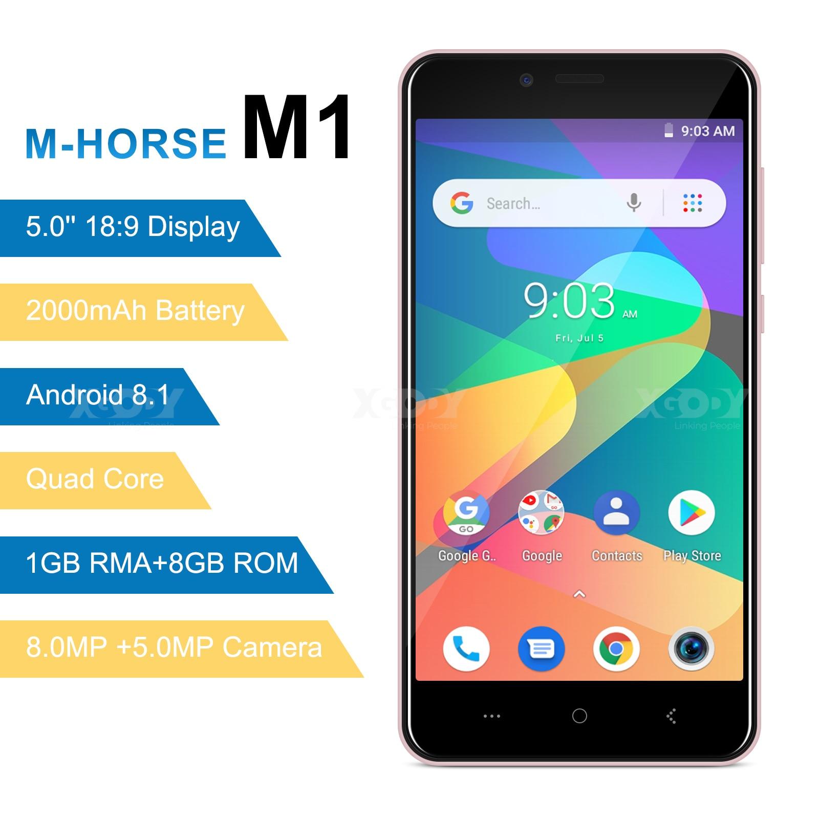 M-HORSE MTK6580 Telefone Móvel Android Quad Core 8.1 GB de RAM GB ROM 3 8 1G 8.0MP WCDMA Dual SIM smartphone 5.0 de polegada celular