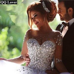 Image 4 - QQ Liebhaber Illusion Perlen Ballkleid Hochzeit Kleid 2020 Hochzeit Kleider