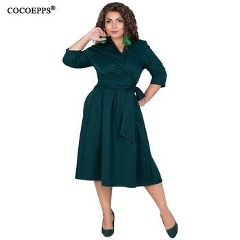 87497e76b COCOEPPS L-6XL Vestidos de las mujeres Plus tamaño vestido de otoño  invierno Elegante ropa suelta gran tamaño Casual Oficina Vestidos de manga  larga