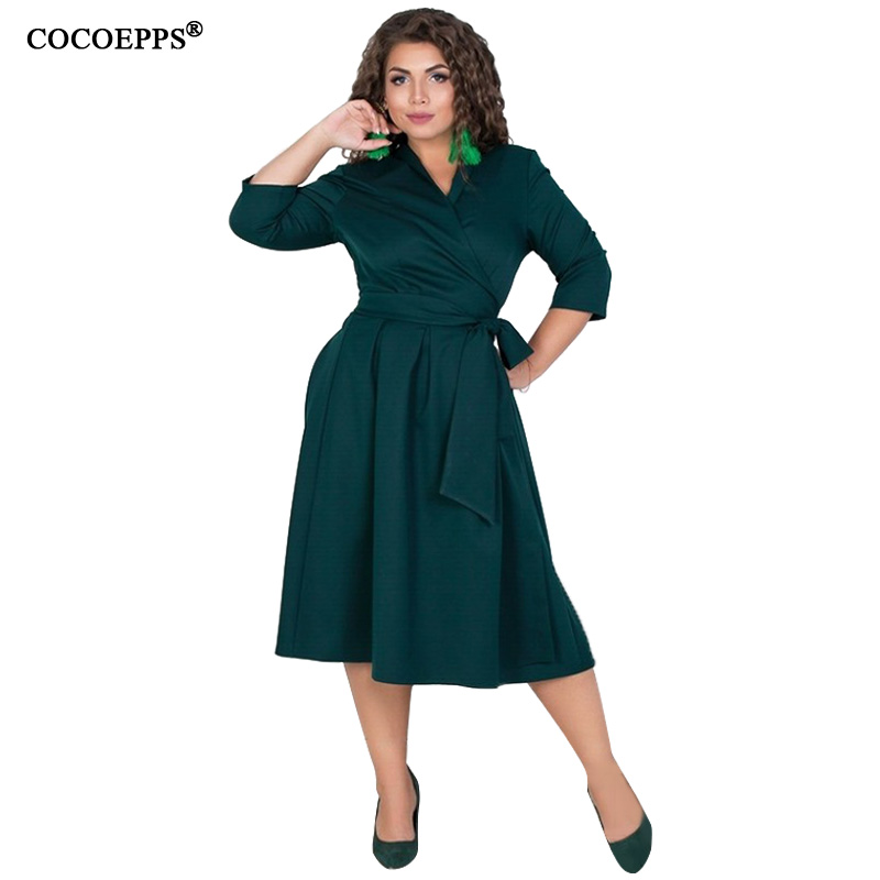 COCOEPPS L-6XL Women Dresses Plus Size Autumn Winter Dress Elegant Loose Clothes Large Size Casual Office Long Sleeve Vestidos