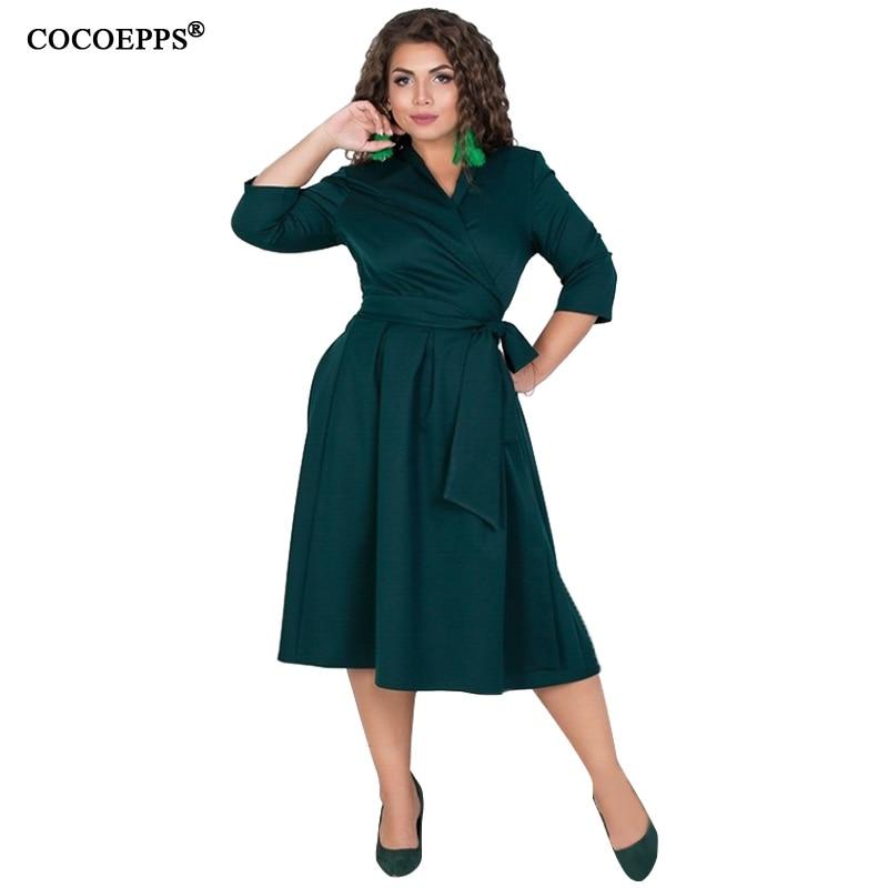 COCOEPPS L-6XL Women Dresses Plus Size Autumn Winter Dress Elegant Loose Clothes Large Size Casual Office Long sleeve Vestidos
