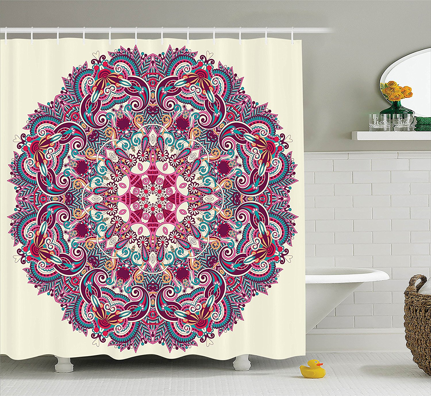 Charmhom flower and leaves bohemian theme indian ethnic design art polyester fabric bathroom shower curtain set