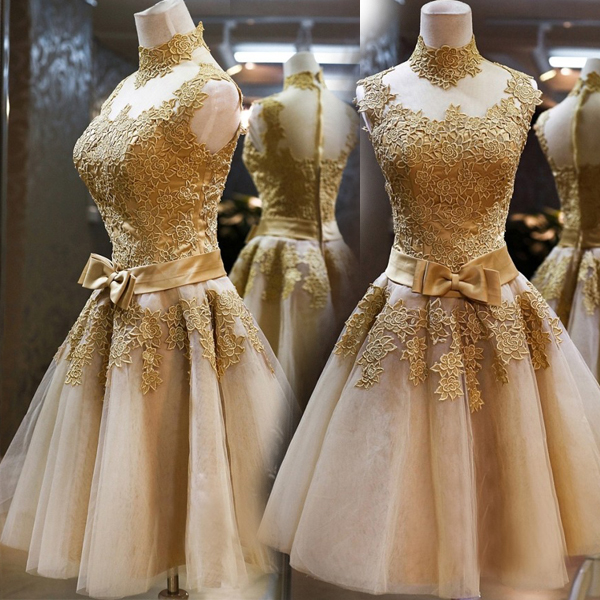 Real High Neck Sleeveless Bow Lace   Cocktail     Dresses   Gold Tulle Sheer Illusion Knee Length Homecoming   Dress   2019 Short Prom Gowns