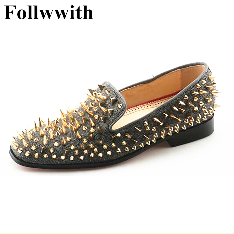 Hot Fashion Men Loafer Irregular Gold Rivets Cover Shiny Leather Cool Men Shoes Slip On Flats Casual Shoes branded men s penny loafes casual men s full grain leather emboss crocodile boat shoes slip on breathable moccasin driving shoes