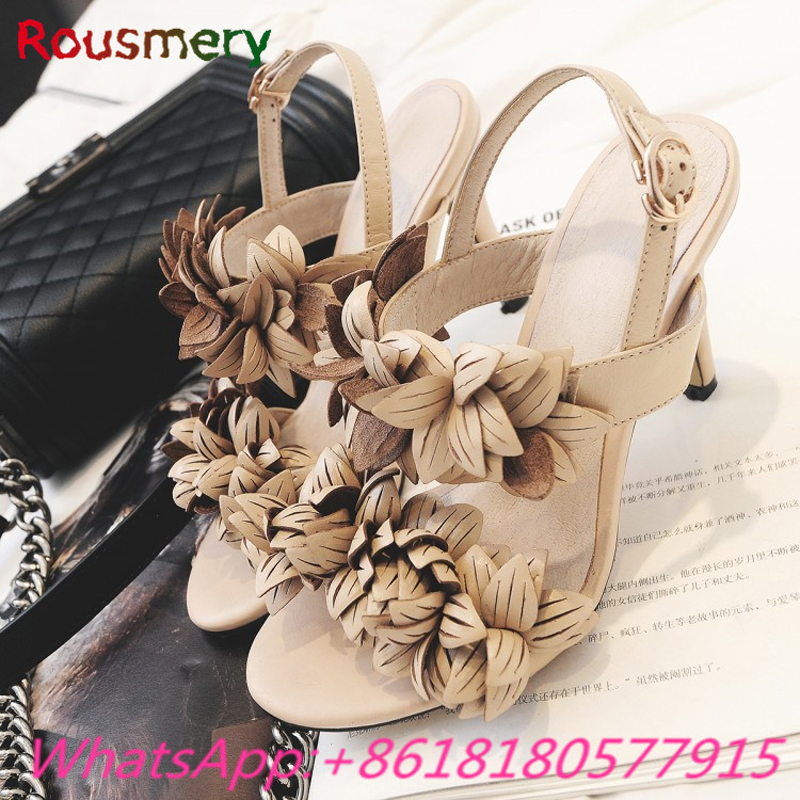New Arrival Thin High Heels Woman Sandals Summer Sweet Flower Decoration Zapatos Mujer Tacon Fashion Gladiator Woman Shoes