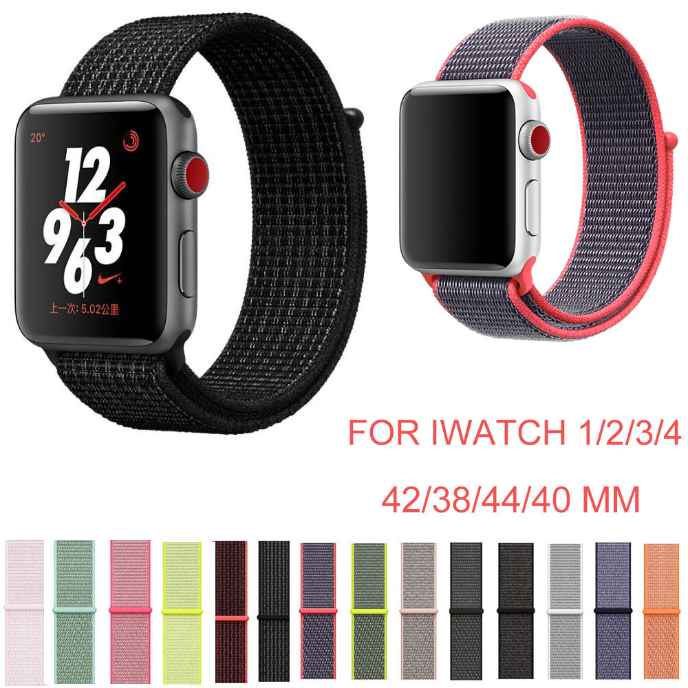 44m 40mm 42mm 38mm Colorful Sport Nylon Loop Watch Strap for Apple Watch Band iWatch Series 4 3 2 1 Straps Wrist Watch Bands sport loop for apple watch band case 42mm 38mm nylon watch strap bracelet with metal frame protector case cover for iwatch 3 2 1