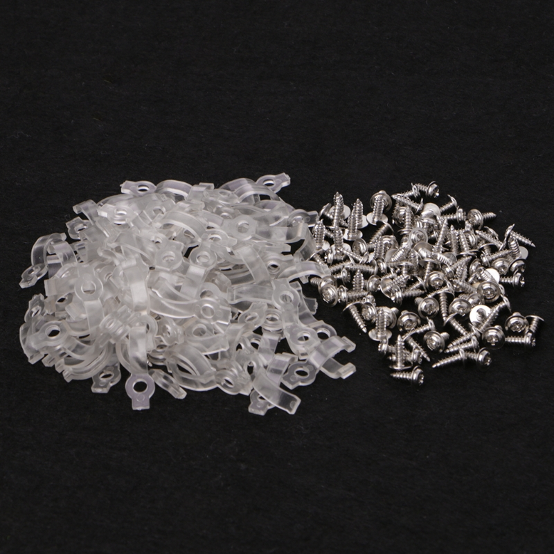 100 Pcs Mounting Bracket 10mm Fixing Clip For 5050 LED Strip Light With Screws Plastic