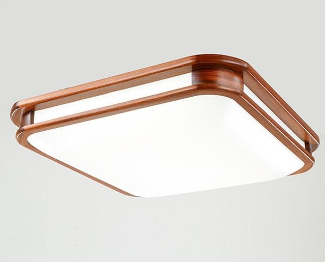 Asian Chinese Style Flush Mount Ceiling Light Led Mahogany Finish Large Wood Lights Lamp For