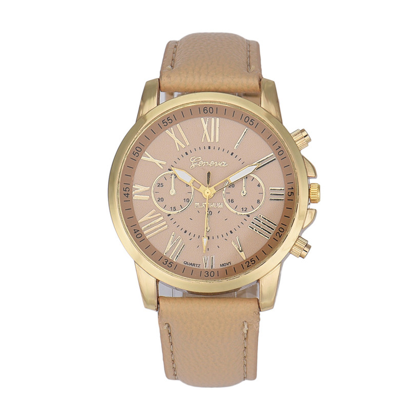 New Women's Fashion Geneva Roman Numerals Faux Leather Analog Quartz Wrist Watch High Qulity Hot Maketing Beautiful M 2 faux leather quartz wrist watch