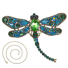 Vintage Crystal Dragonfly Necklace For Women Collar Pins Dragonfly Pendant Jewelry accessories enamel  epacket drop shipping