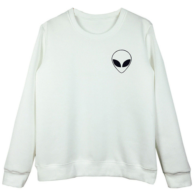 2017 Fashion Women Skulls Printed Alien Long Sleeve Pullover Shirt Casual Couples Solid Color