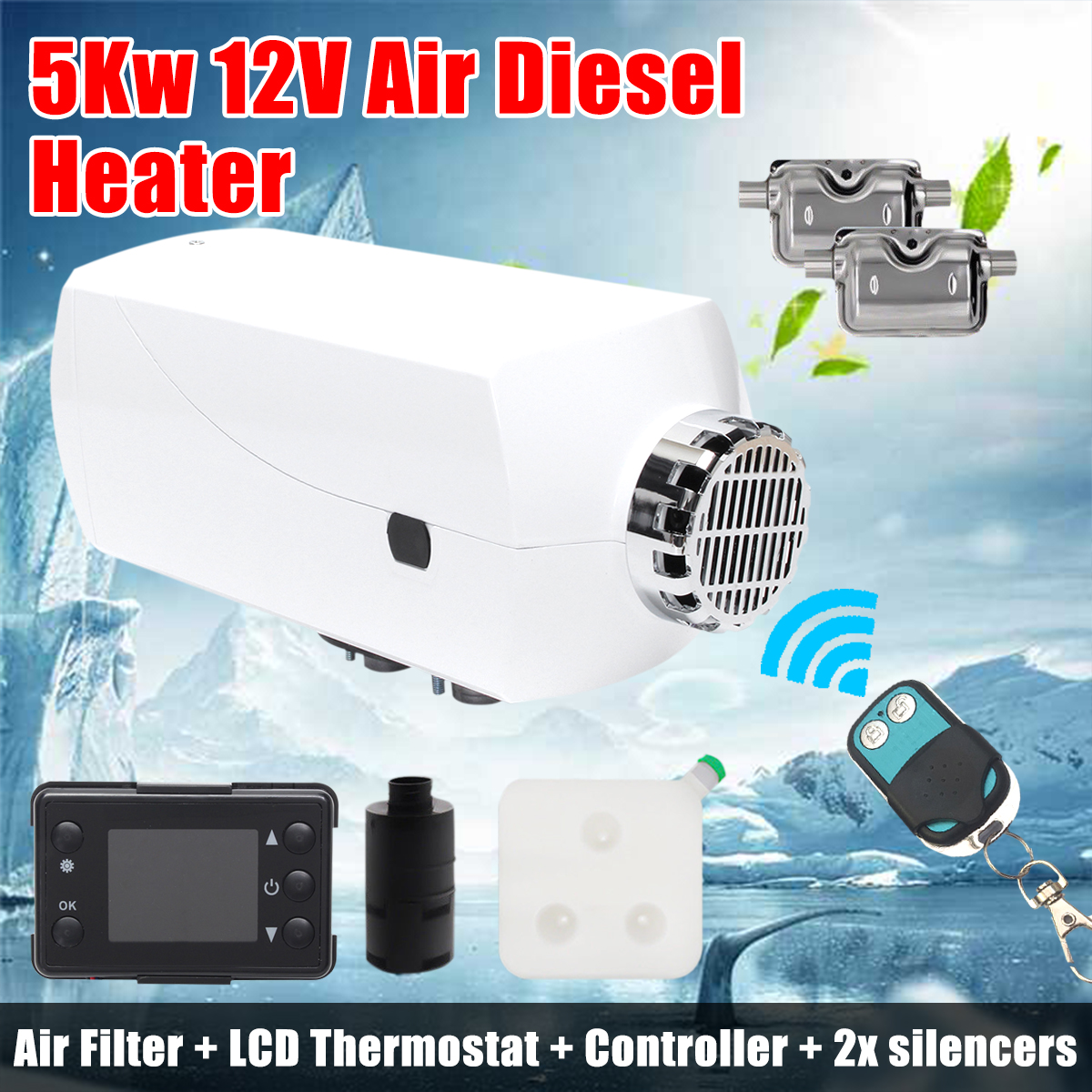Car Heater 5000w Air Diesel Lcd Monitor 5kw 12v For Trucks Projector Multifunction Controller Circuit Diagram Control Motor Homes Boats Bus With Renote 2x Silencers In Heating Fans From Automobiles