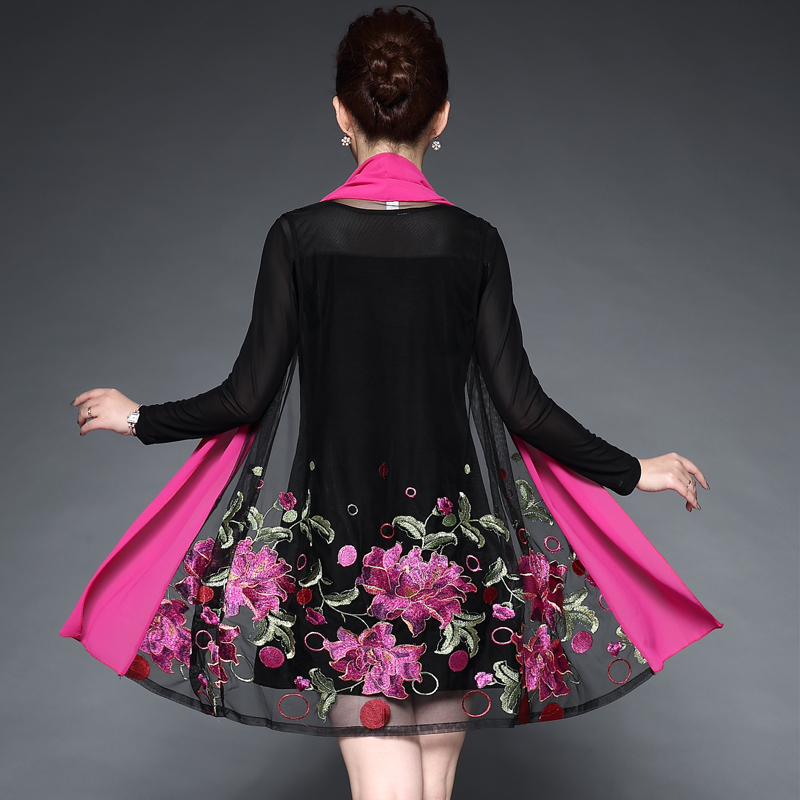 Middle Aged Women Embroidery Flower Casual Dress Summer Autumn Two Piece Dress Black Dresses Party Vestidos