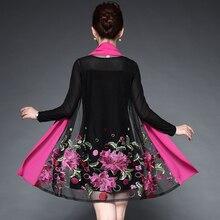 Женское Повседневное платье с вышитыми цветами для среднего возраста, летнее осеннее платье из двух частей, черные вечерние платья Vestidos размера плюс 6XL