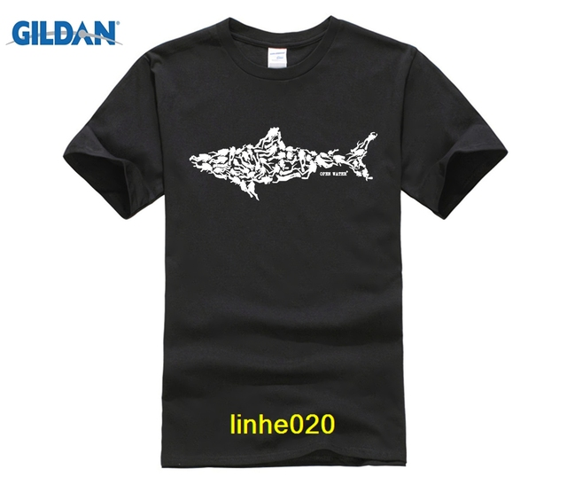 GILDAN DIY Print T Shirt Shark Scuba Diver Tee Divinger Dive Funny Birthday Gift Present For Him Men Adult