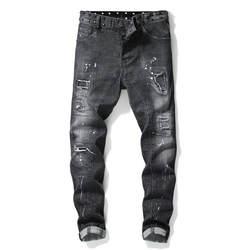 MORUANCLE для мужчин в стиле панк рваные джинсы с принтом Здравствуйте заклепками Hi Street разрушенные джинсовые мотобрюки Patched Distressed брюки для