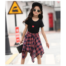 Girls Short Sets Summer Children Fashion Suit Clothes 2 pieces Cotton T shirt+Striped Pant Skirt Size 4-14 Years clothing set