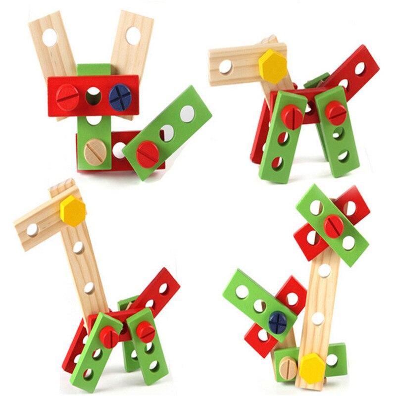 Candywood En Bois Boîte À Outils En Bois 3D Puzzle Boîte À Outils Service Simulation jouets pour Bébé enfants jouets Éducatifs garçon cadeau boîte à Outils jouet - 4