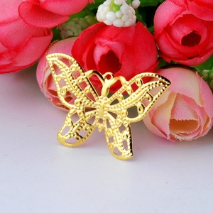 Darmowa Shipping-100Pcs złota Tone filigran okłady motyl złącza wyrób metalowy na prezent dekoracji DIY 31x22mm J2719