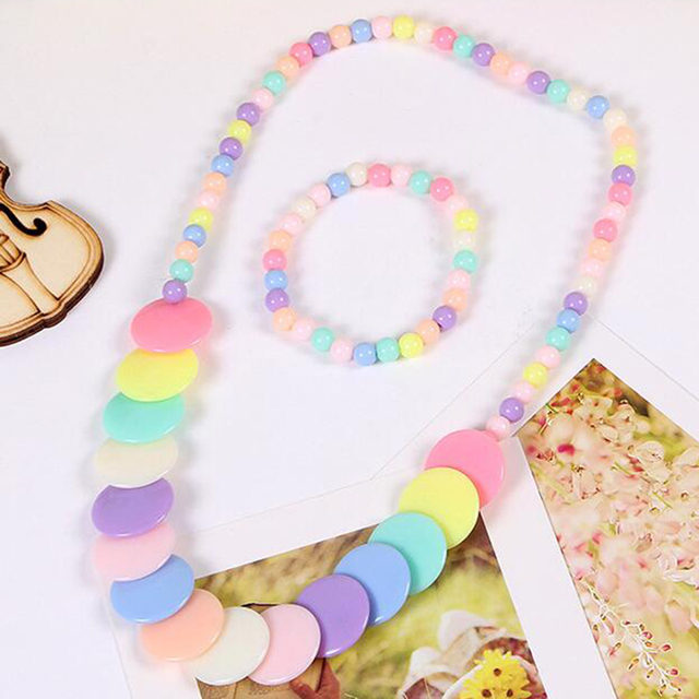 Candy Color Kids Resin Beads Strand Bracelet Necklace Jewelry Set Children Round Beads Snow Flower Necklace Jewelry Accessories