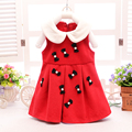 2016 Spring new clothes baby girls dress ribbon material turn-down collar sleeveless dresses red color baby girl clothes A001