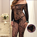 WAHO Plus Size Lingerie Mulheres Sexy Body Stocking Abrir Crotch Bodystockings Sheer Crotchless Collants De Nylon Das Mulheres 4 cores