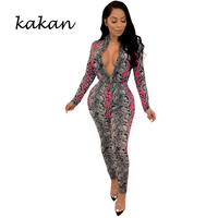 Kakan spring new women's bodysuit tights fashion snake print casual jumpsuit with belt yellow rose red green jumpsuit