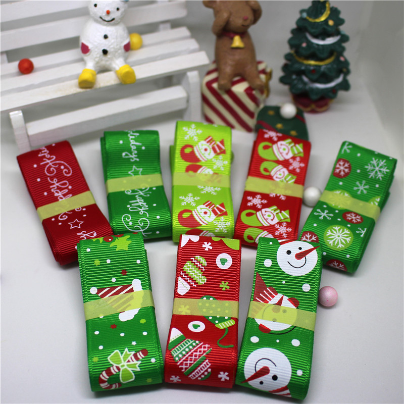 24mlot 25mm width printed mix different christmas rubban decorations for home grosgrain navidad ribbons diy kids hair bow gift in ribbons from home - Different Christmas Decorations