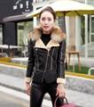 Alta qualidade Plus Size elegante jacket mulheres do inverno com pele gola de design mulheres casacos de inverno casaco de couro PU preto vermelho cor