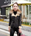 High quality Plus size elegant women winter jacket with fur collar design women winter jackets PU leather coat black red color