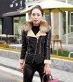 La alta calidad Más El tamaño elegante de las mujeres chaqueta de invierno con la piel diseño del cuello de las mujeres abrigo de invierno chaquetas de cuero de LA PU negro rojo color