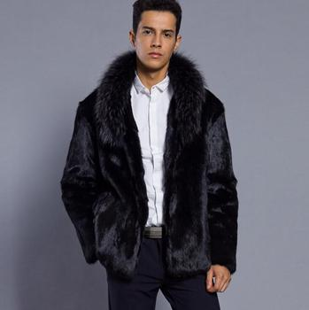 Autumn faux mink leather jacket mens winter thicken warm fur leather coat men slim jackets Wild jaqueta de couro fashion black