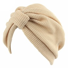 Mujeres Crochet invierno elástico turbante India punto Cap Chemo sombrero  sólido Hijab nueva(China) 6f8660bc831