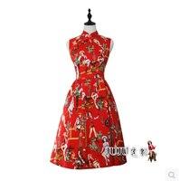 Audrey Hepburn in màu đỏ cổ điển tay Mandarin Collar dài đến đầu gối sườn xám váy phụ nữ đơn giản và thanh lịch
