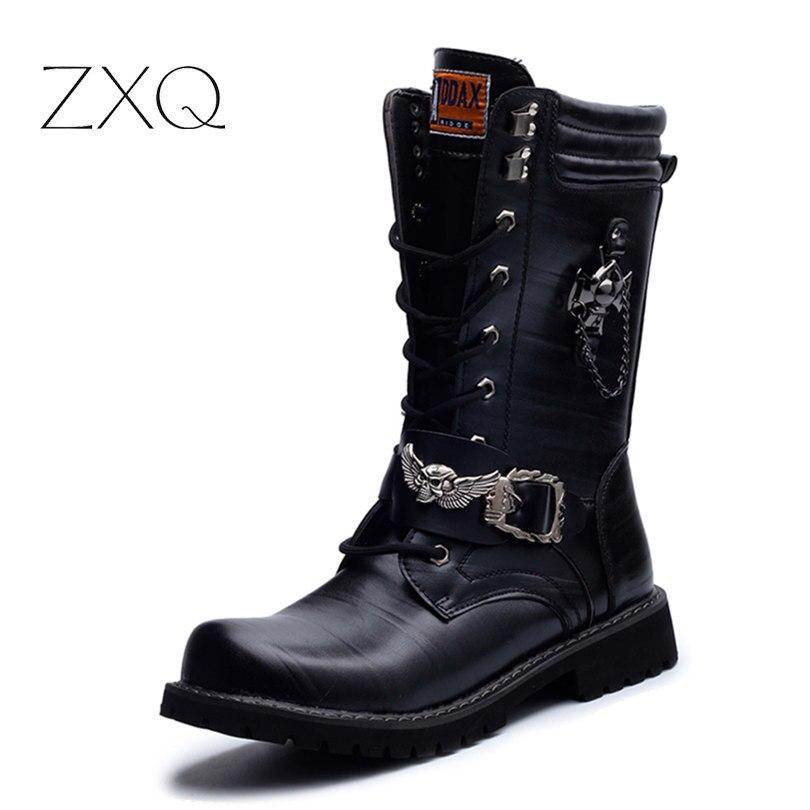 NEUE 2017 Persönlichkeit männer stiefel Punk Stiefel Schwarz Männlichen High-Top Schuhe Mode Motorrad Stiefel Plus Größe 37-45