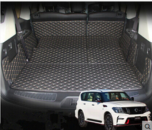 Newly! Special trunk mats for Nissan Patrol Y62 7seats 2018 durable cargo liner boot carpets for Patrol 2017-2011,Free shipping