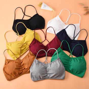 Children Girls Bras Solid Color Young Girls Underwear Wireless Small Training Puberty Bras Undergarment Clothes 70-90cm image