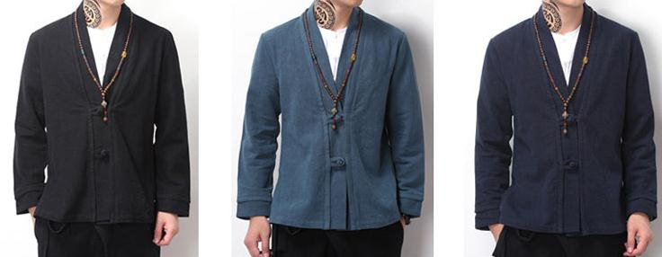 Male Cotton linen Spring Autumn tang suit lay meditation coat zen jacket gown tai chi robe