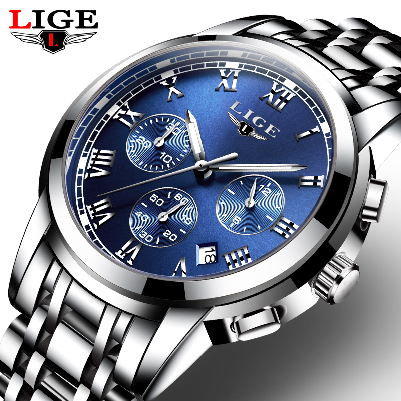 Relogio Masculino LIGE Mens Watches Top Brand Luxury Fashion Business Quartz Watch Men Sports Full Steel Waterproof watch Clock j best price crystal black chandelier droplight europe restoring ancient light dining room crystal lamps for bedrooms 6 lights