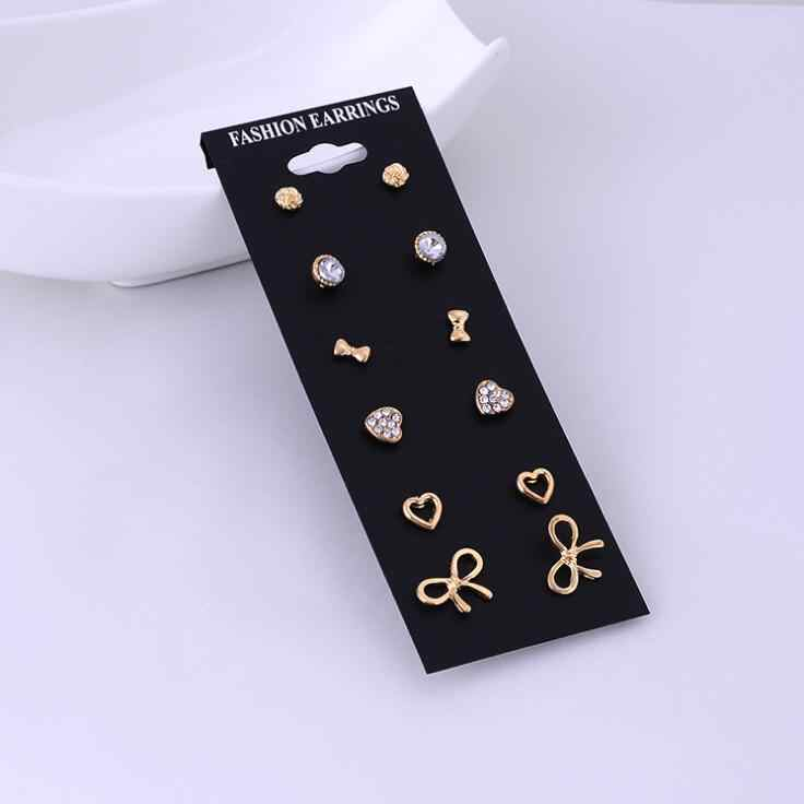 6 Piece Set Earrings Woman Girl Fashion Jewelry Gold Silver Pearl Heart Bow Golden Silver Gift Pop Flower Round