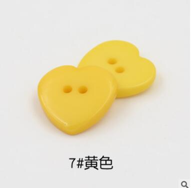 Красивые 1 лот = 100 шт полимерные кнопки в форме сердца 2 отверстия пластиковые кнопки Швейные аксессуары для одежды DIY для детской одежды кнопка мешок - Цвет: 7-yellow