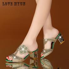 Новые Летние босоножки женские Босоножки на высоком каблуке с открытым носком с кристаллами Повседневные шлепки женские блестящие ботинки цветок для женские сандалии