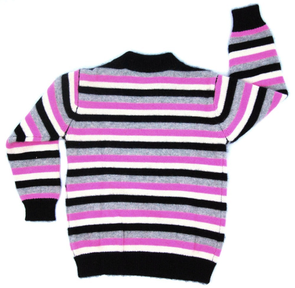 цена на Children's Clothing Sweaters Cashmere Warm Soft Knitted Baby Girls Pullovers Pink stripes Sweatercoat for Girl Italy