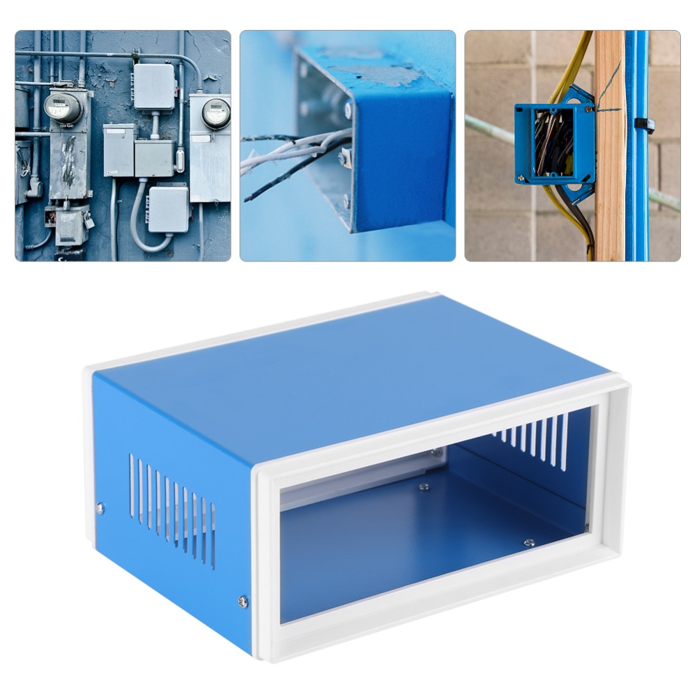 Blue Metal  Enclosure Project Case DIY Junction Box Anti-static Insulation Resistance Usage For Electronic Project