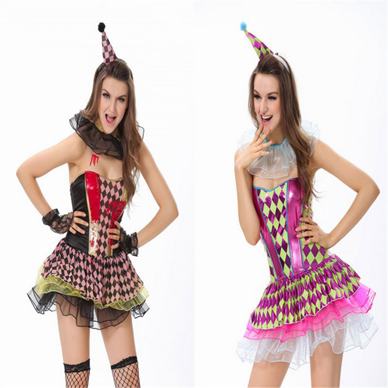 2018New High Quality Purple black Sexy Clown Costumes Halloween Exotic ApparelPlay Nightclub Fantasy Sexy Women Cosplay Clothing